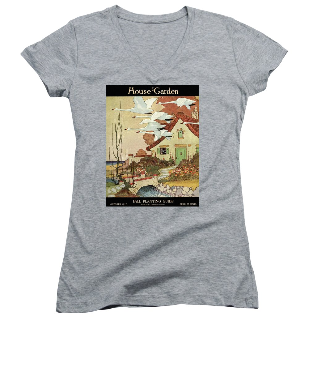 House And Garden Women's V-Neck featuring the photograph House And Garden Fall Planting Guide by Charles Livingston Bull