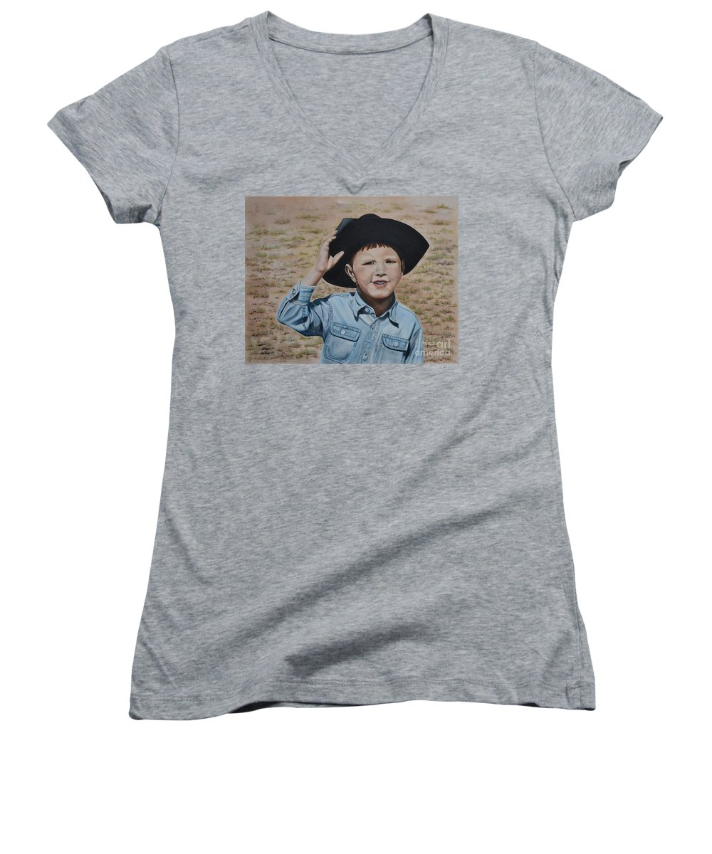 Usa Women's V-Neck (Athletic Fit) featuring the painting Howdy Ma'am by Mary Rogers