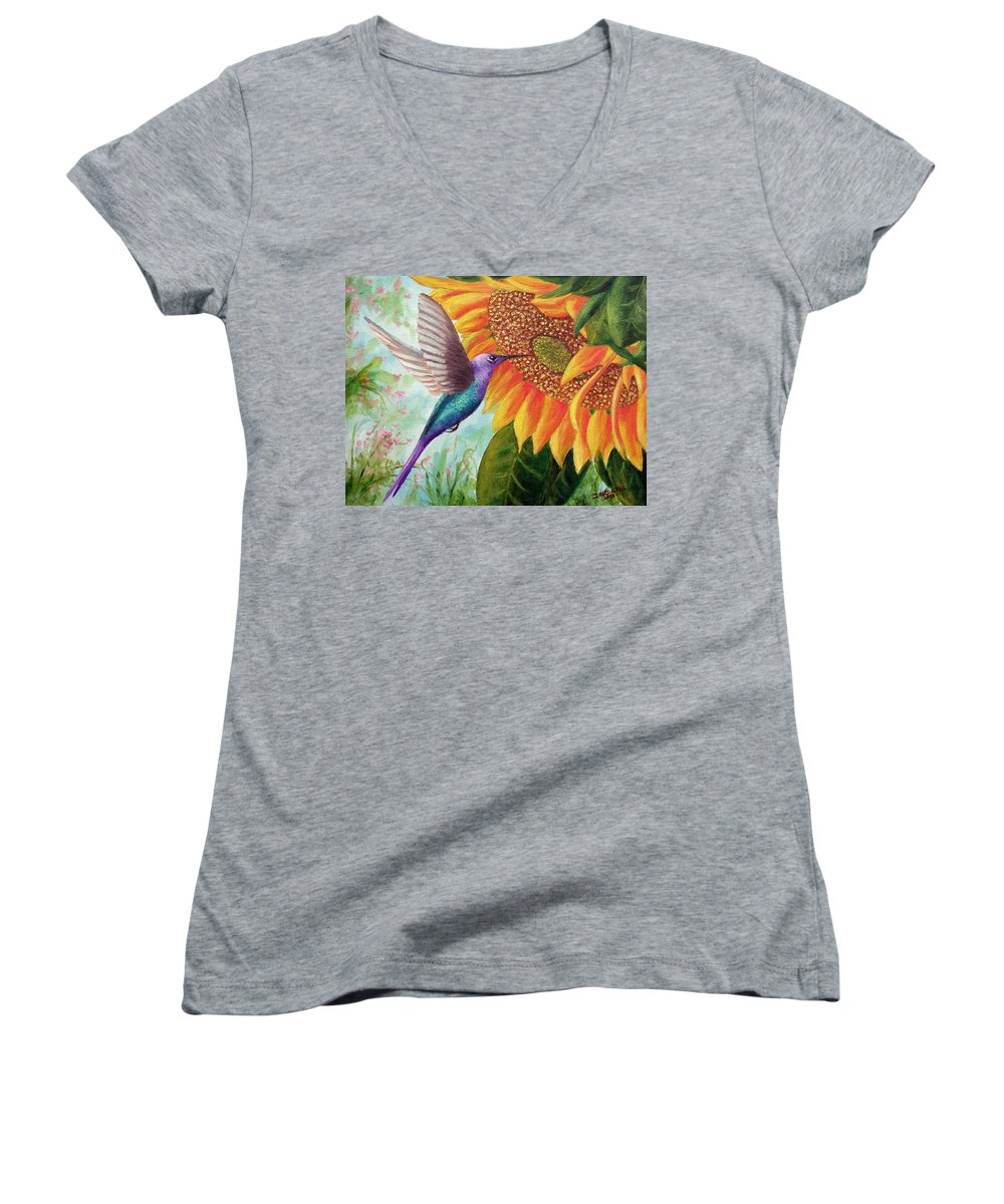 Hummingbird Women's V-Neck (Athletic Fit) featuring the painting Humming For Nectar by David G Paul