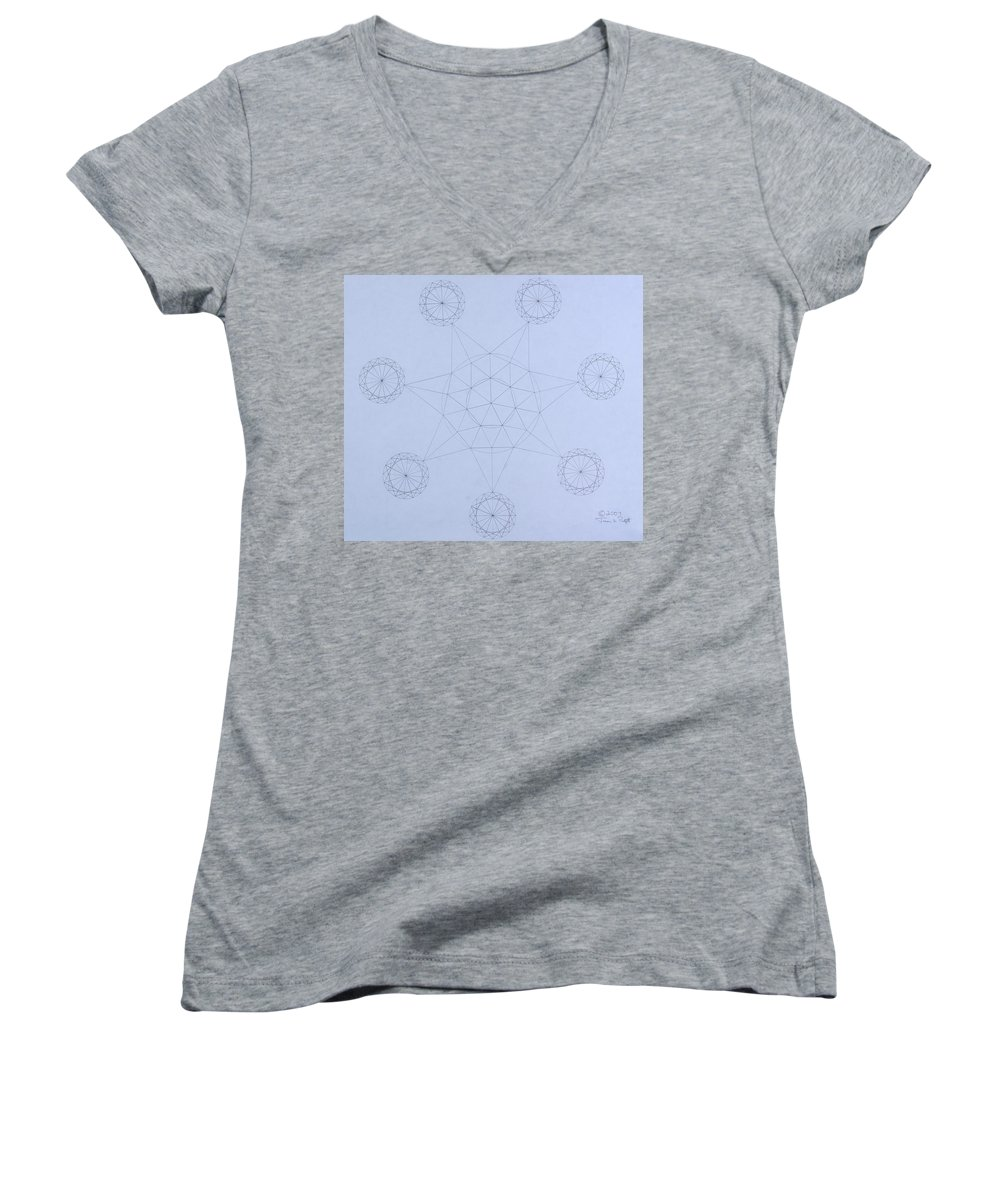 Jason Padgett Women's V-Neck (Athletic Fit) featuring the drawing Impossible Parallels by Jason Padgett