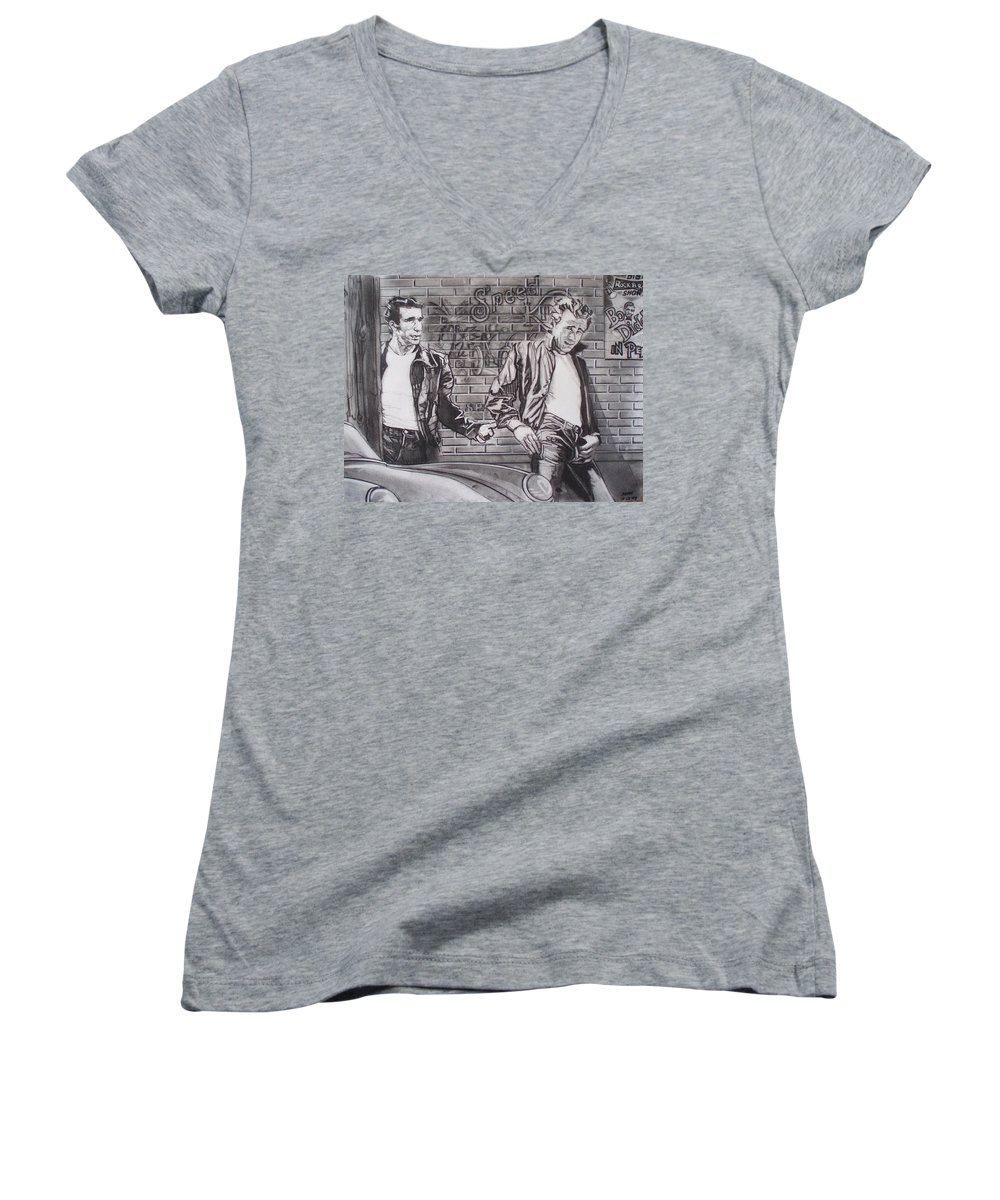 Americana Women's V-Neck T-Shirt featuring the drawing James Dean Meets The Fonz by Sean Connolly
