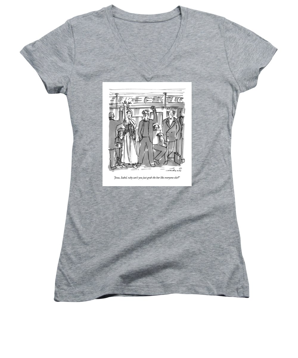 (couple On Subway Women's V-Neck featuring the drawing Jesus, Isabel, Why Can't You Just Grab The Bar by Michael Crawford
