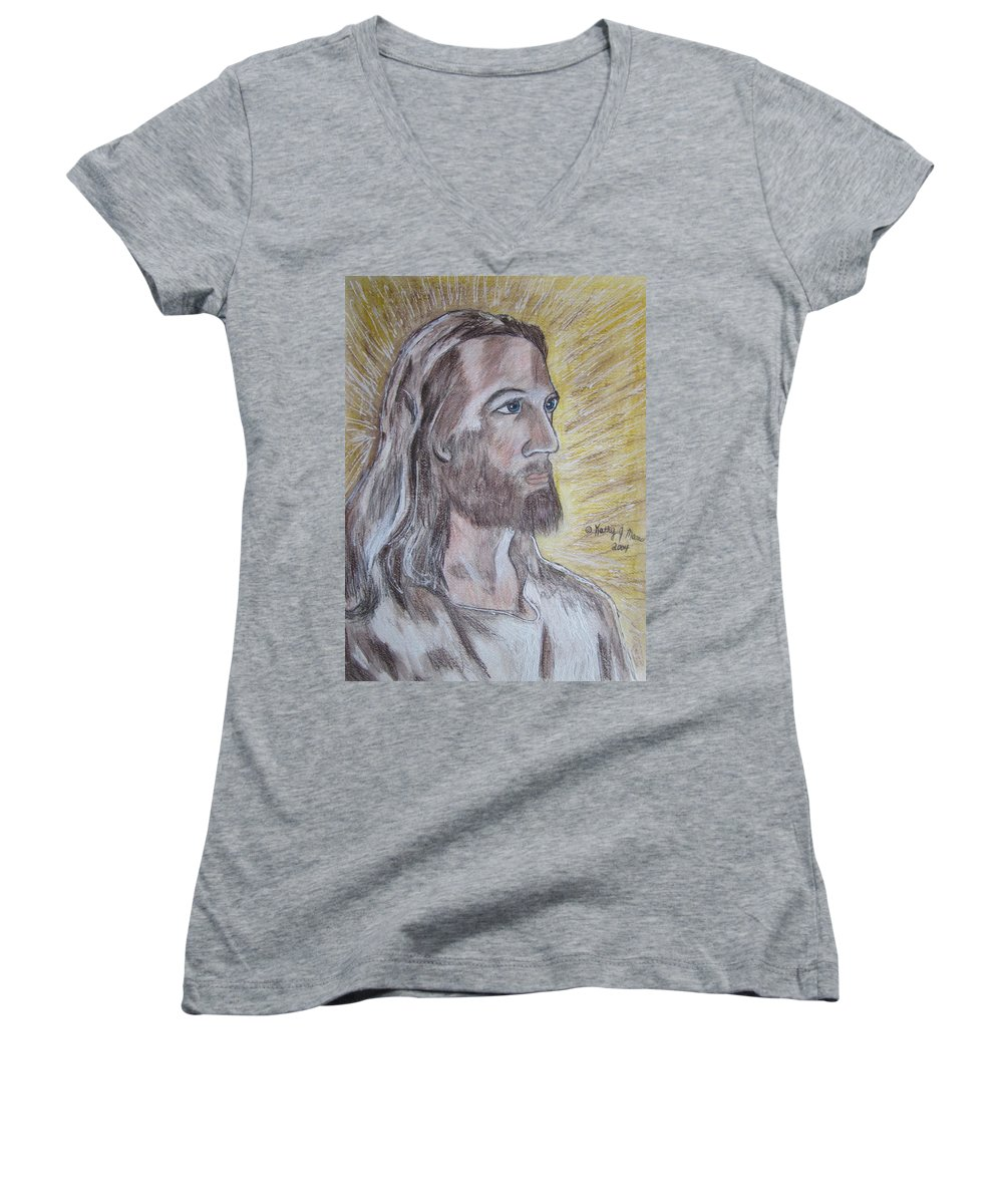 Jesus Women's V-Neck (Athletic Fit) featuring the painting Jesus by Kathy Marrs Chandler
