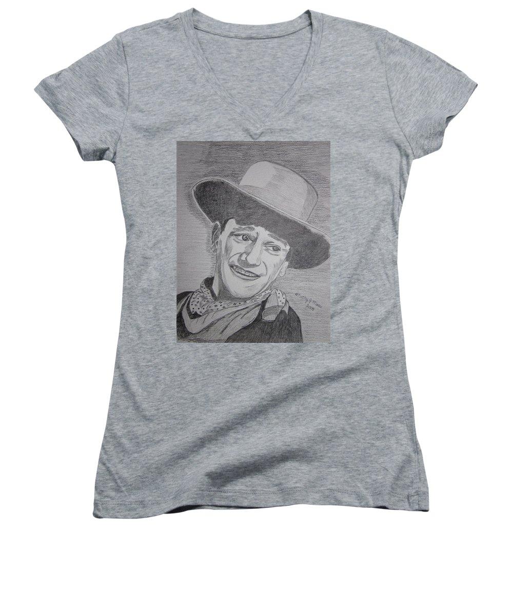 John Wayne Women's V-Neck T-Shirt featuring the painting John Wayne by Kathy Marrs Chandler
