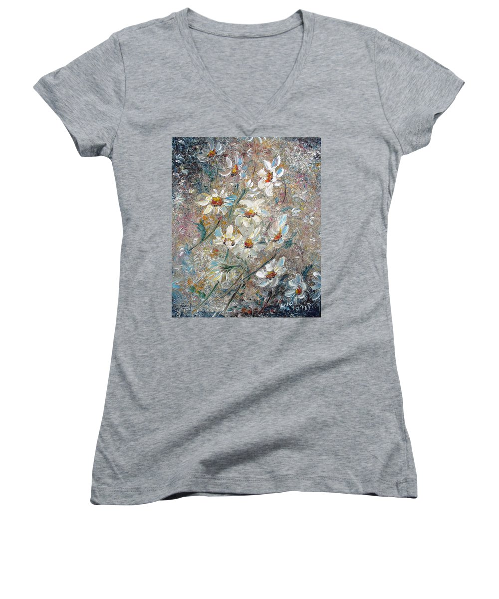 Daisies Painting Abstract Flower Painting Botanical Painting Bloom Greeting Card Painting Women's V-Neck T-Shirt featuring the painting Just Dasies by Karin Dawn Kelshall- Best