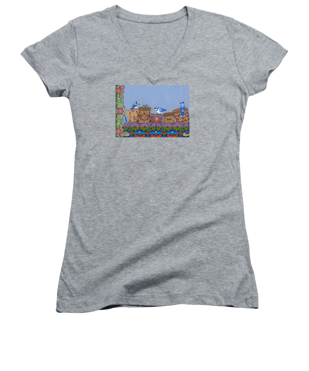 America Women's V-Neck featuring the painting Keeper Of Songs by Chholing Taha