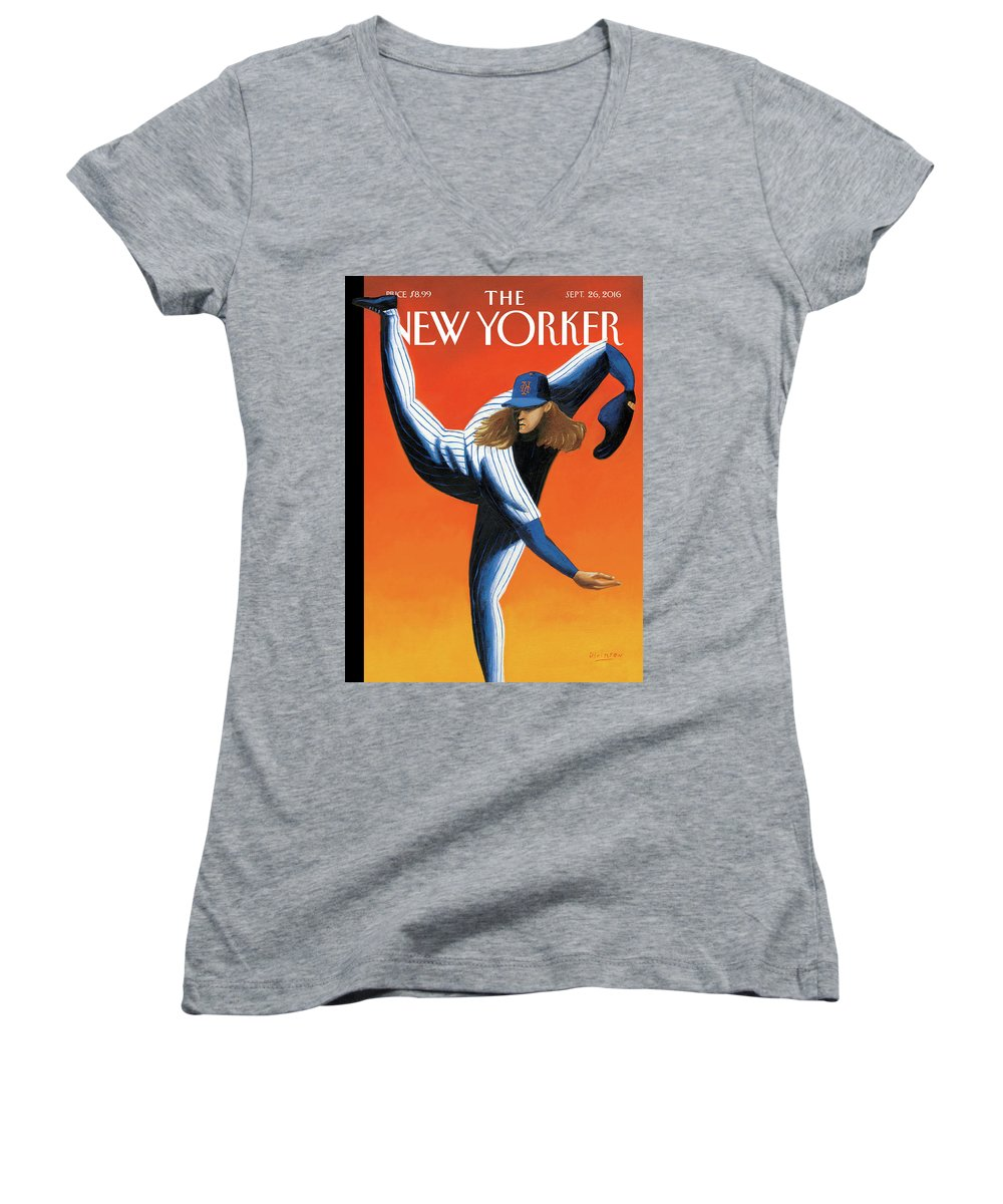 Mets Women's V-Neck featuring the painting Late Innings by Mark Ulriksen