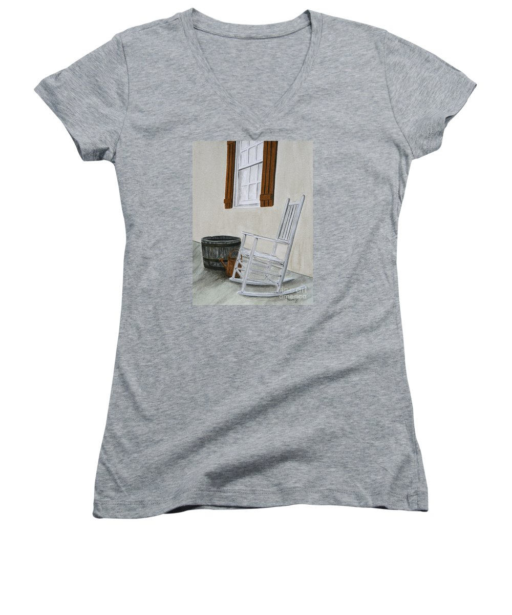 Americana Women's V-Neck T-Shirt featuring the painting Lazy Day by Regan J Smith