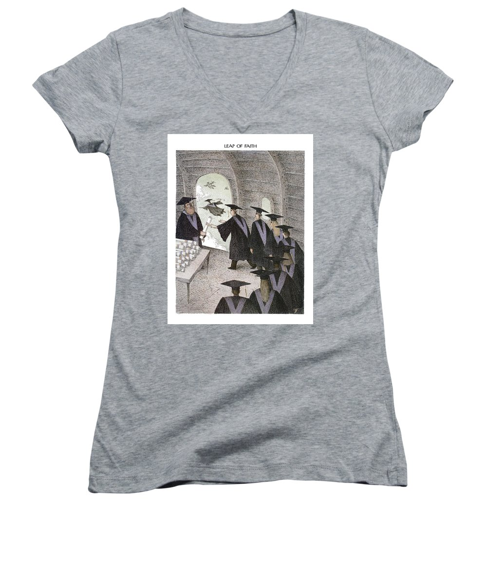 Leap Of Faith (college Graduates Receive Their Diplomas In Open Doorway Of Flying Airplane And Fly Out) Education Women's V-Neck featuring the drawing Leap Of Faith by John O'Brien