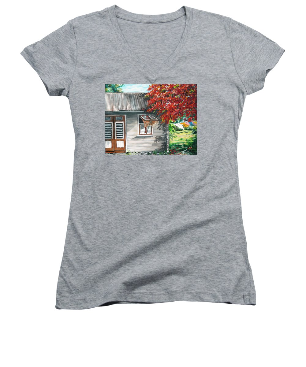 Caribbean Painting Typical Country House In The Caribbean Or West Indian Islands With Flamboyant Tree Tropical Painting Women's V-Neck (Athletic Fit) featuring the painting Little West Indian House 1 by Karin Dawn Kelshall- Best