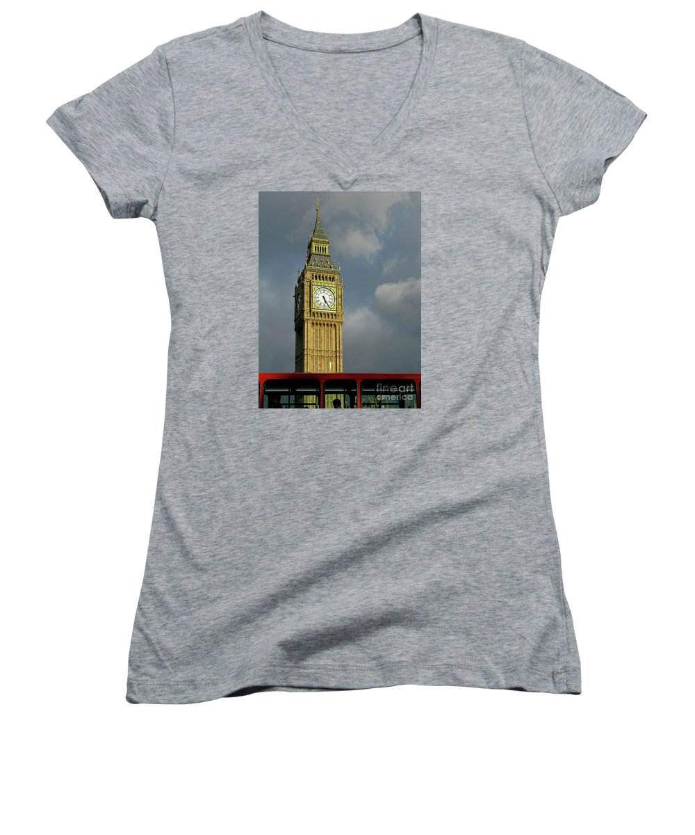 London Icons By Ann Horn Women's V-Neck (Athletic Fit) featuring the photograph London Icons by Ann Horn