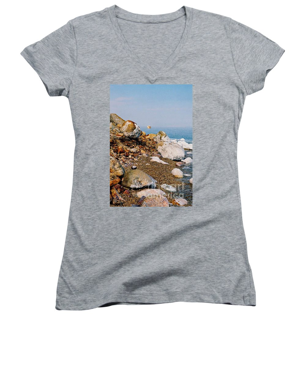Dead Sea Women's V-Neck T-Shirt featuring the photograph Lot's Wife by Kathy McClure