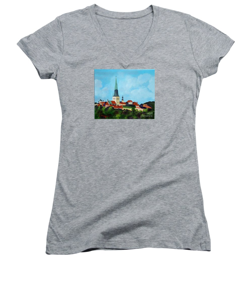 Tallinn Women's V-Neck (Athletic Fit) featuring the painting Medieval Tallinn by Laurie Morgan