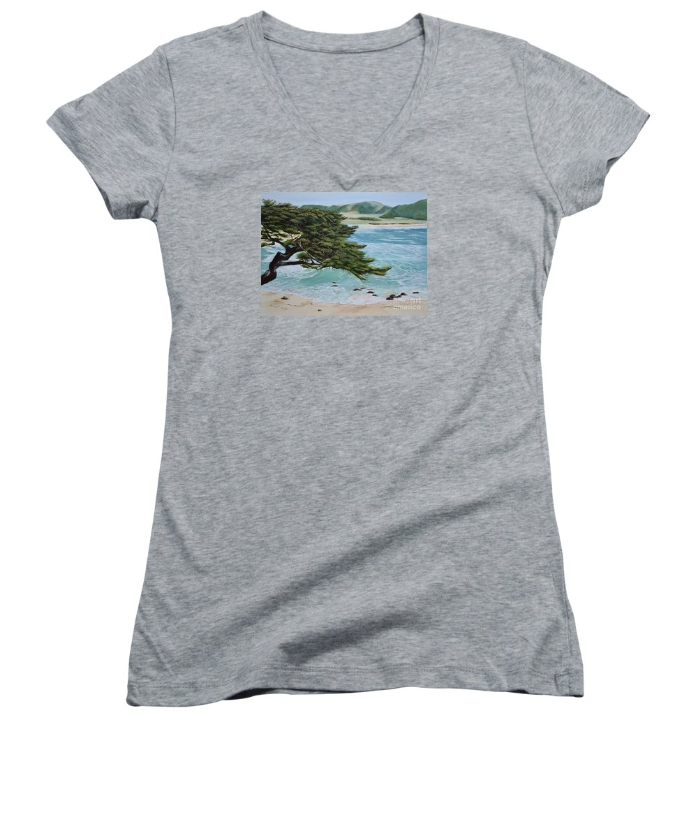 Beach Women's V-Neck T-Shirt featuring the painting Monastery Beach by Mary Rogers