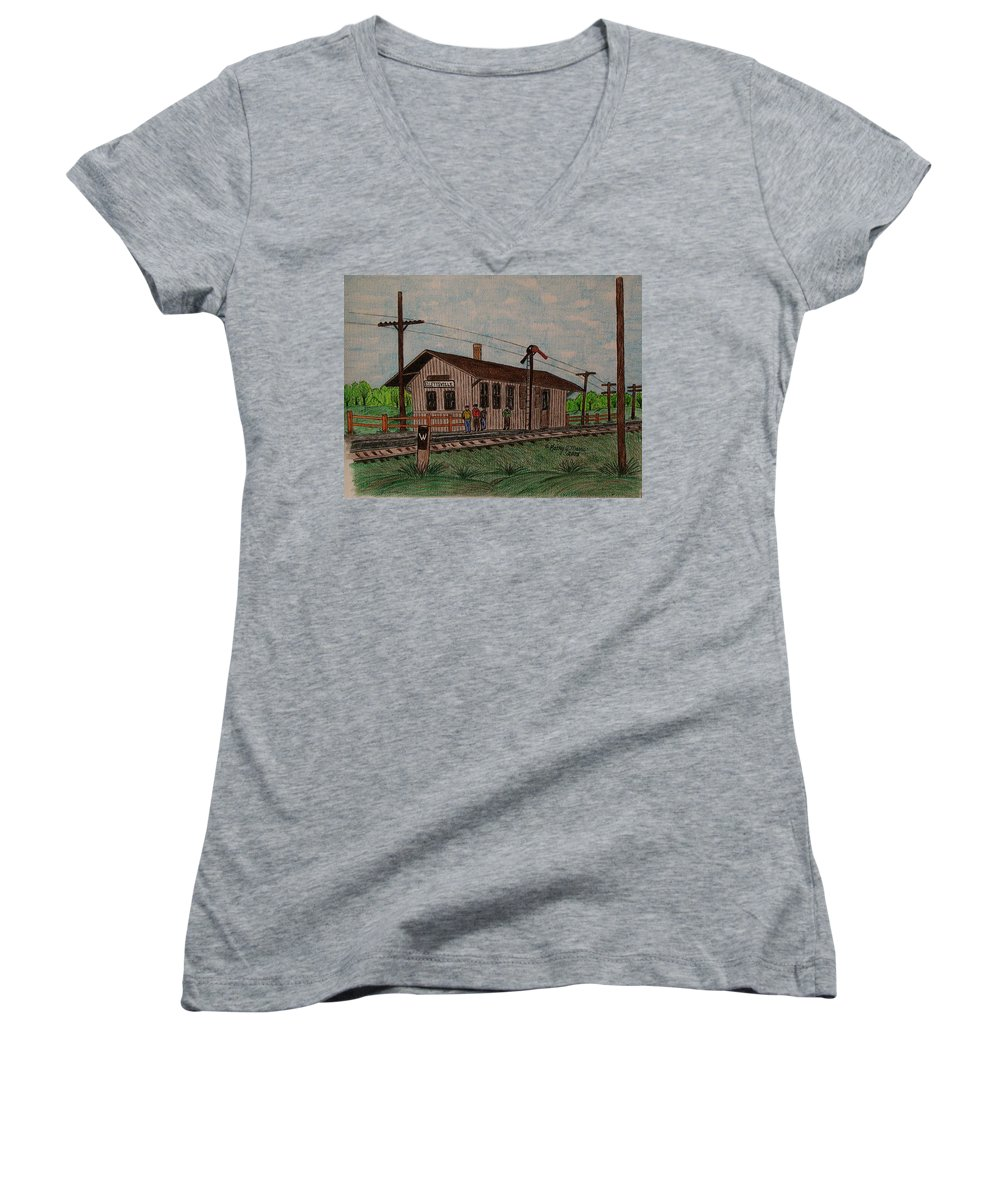 Monon Women's V-Neck (Athletic Fit) featuring the painting Monon Ellettsville Indiana Train Depot by Kathy Marrs Chandler