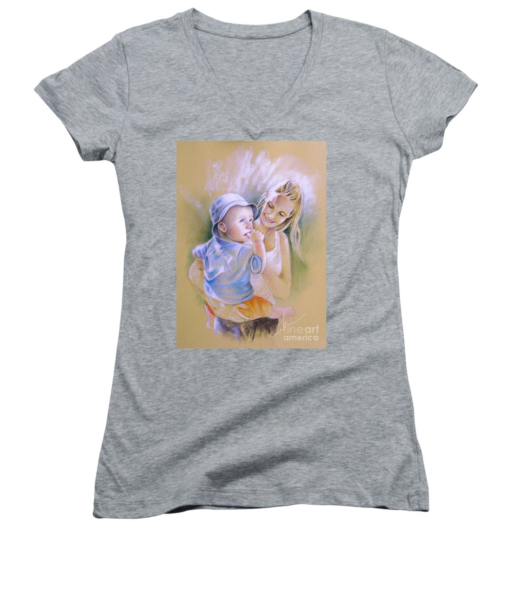 Portrait Women's V-Neck (Athletic Fit) featuring the painting Mother And Son by Miki De Goodaboom