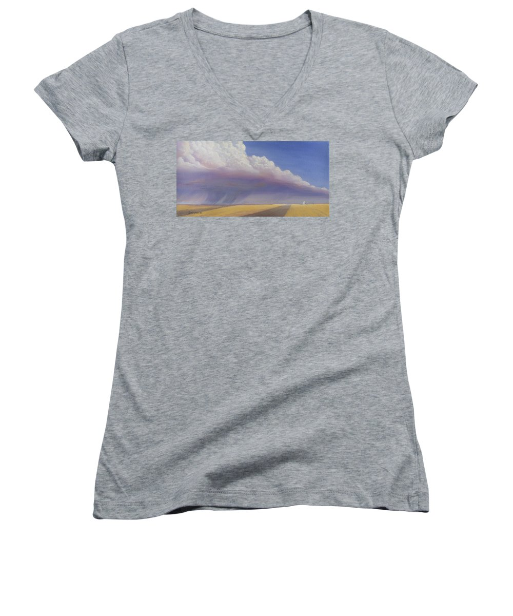 Landscape Women's V-Neck (Athletic Fit) featuring the painting Nebraska Vista by Jerry McElroy