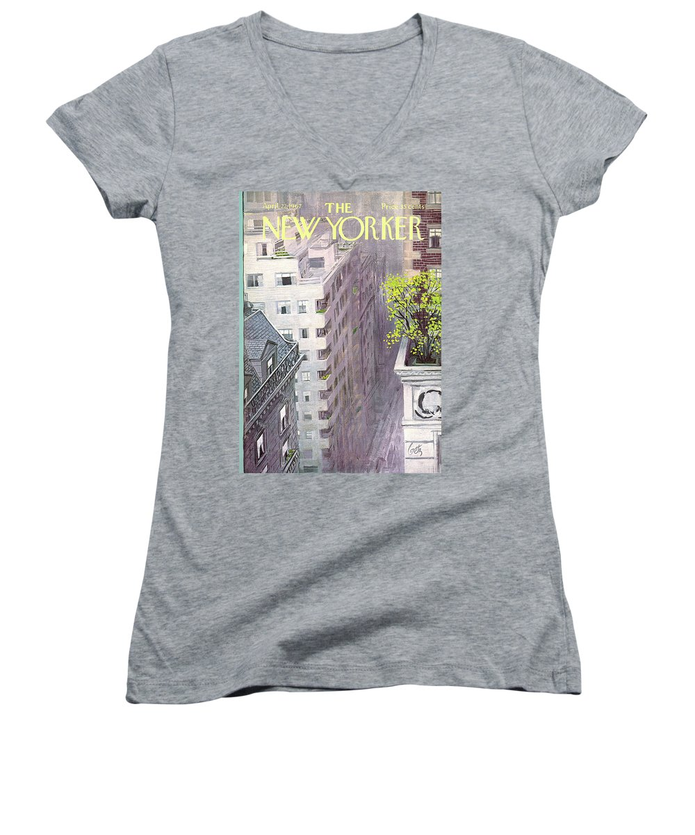 Arthur Getz Agt Women's V-Neck featuring the painting New Yorker April 22nd, 1967 by Arthur Getz