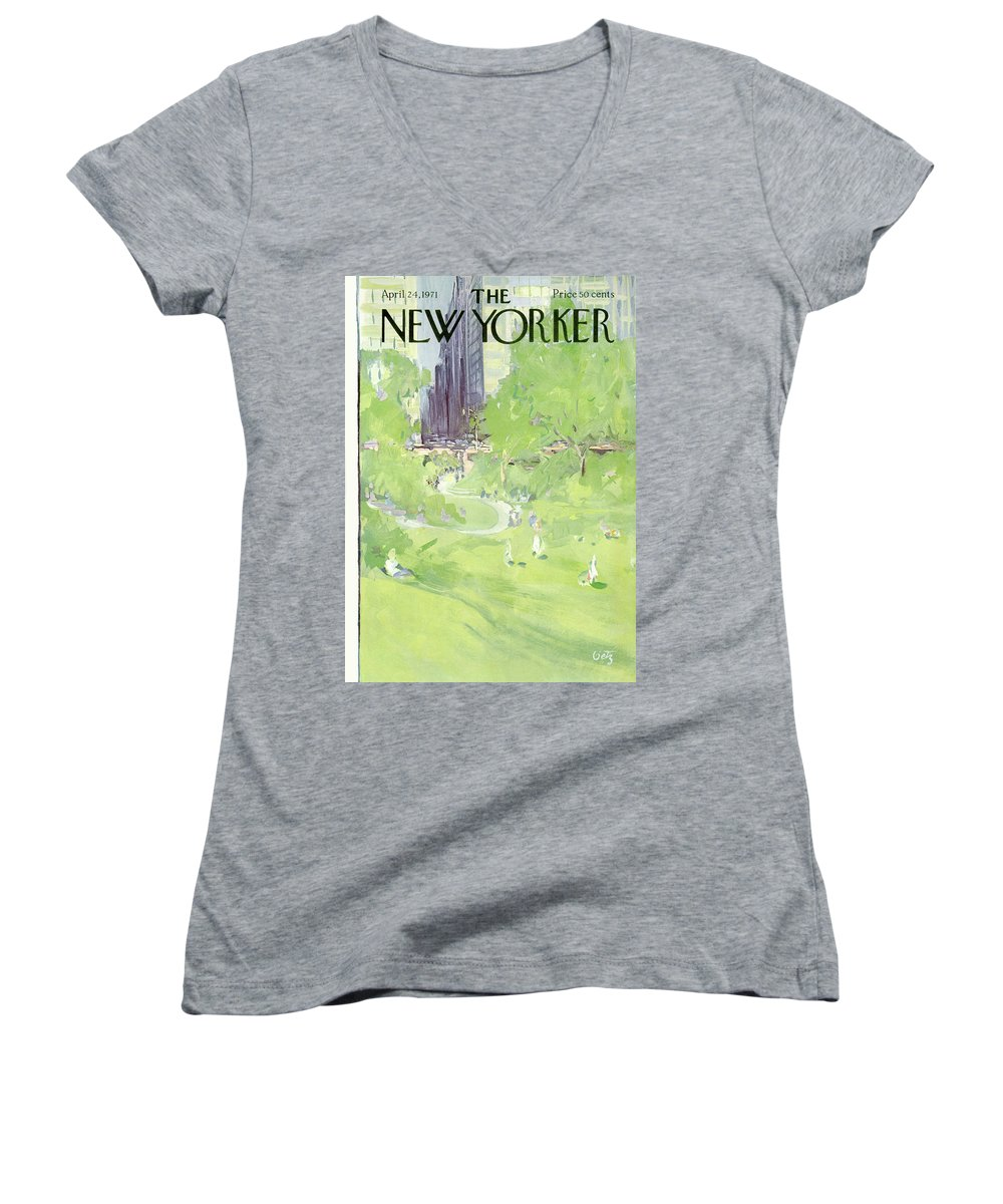 Urban Women's V-Neck featuring the painting New Yorker April 24th, 1971 by Arthur Getz