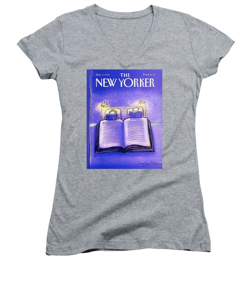 Married Couple Women's V-Neck featuring the painting New Yorker December 3rd, 1990 by Eugene Mihaesco