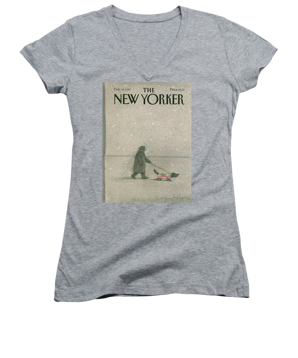 Man Women's V-Neck featuring the painting New Yorker February 16th, 1987 by Eugene Mihaesco