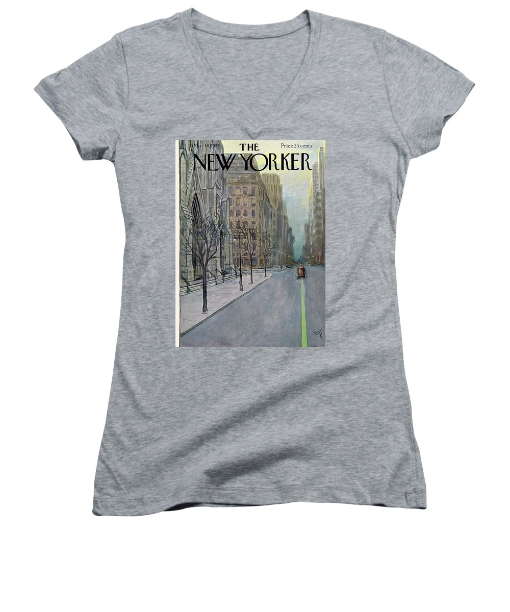 Urban Women's V-Neck featuring the painting New Yorker March 16th, 1957 by Arthur Getz