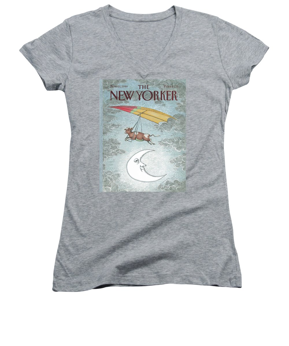 Animals Women's V-Neck featuring the painting New Yorker November 21st, 1988 by John O'Brien