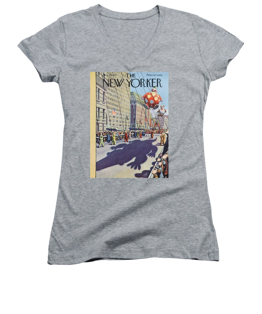 Party Women's V-Neck featuring the painting New Yorker November 29th, 1952 by Arthur Getz