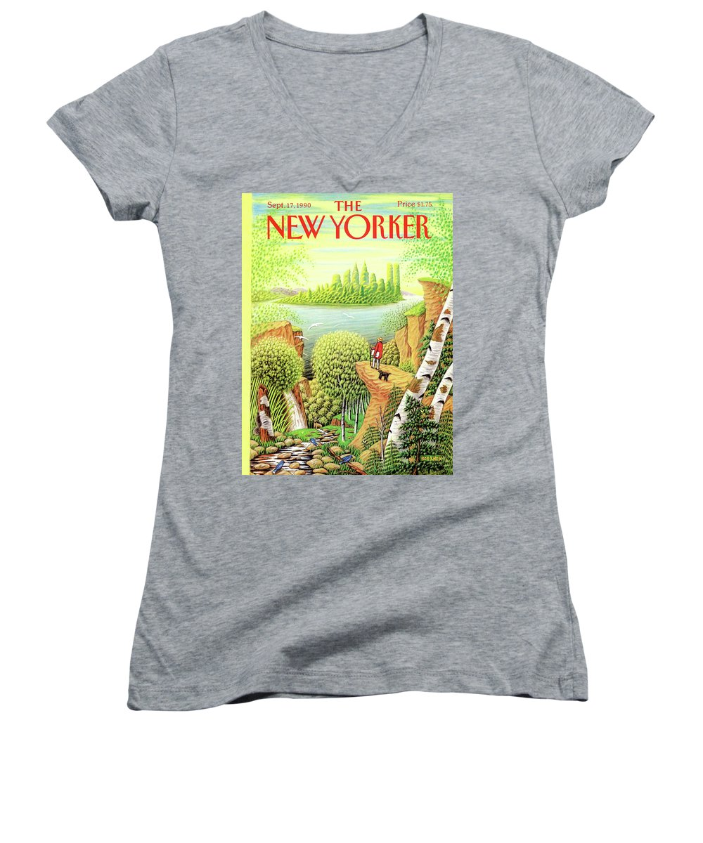 Animal Women's V-Neck featuring the painting New Yorker September 17, 1990 by Bob Knox