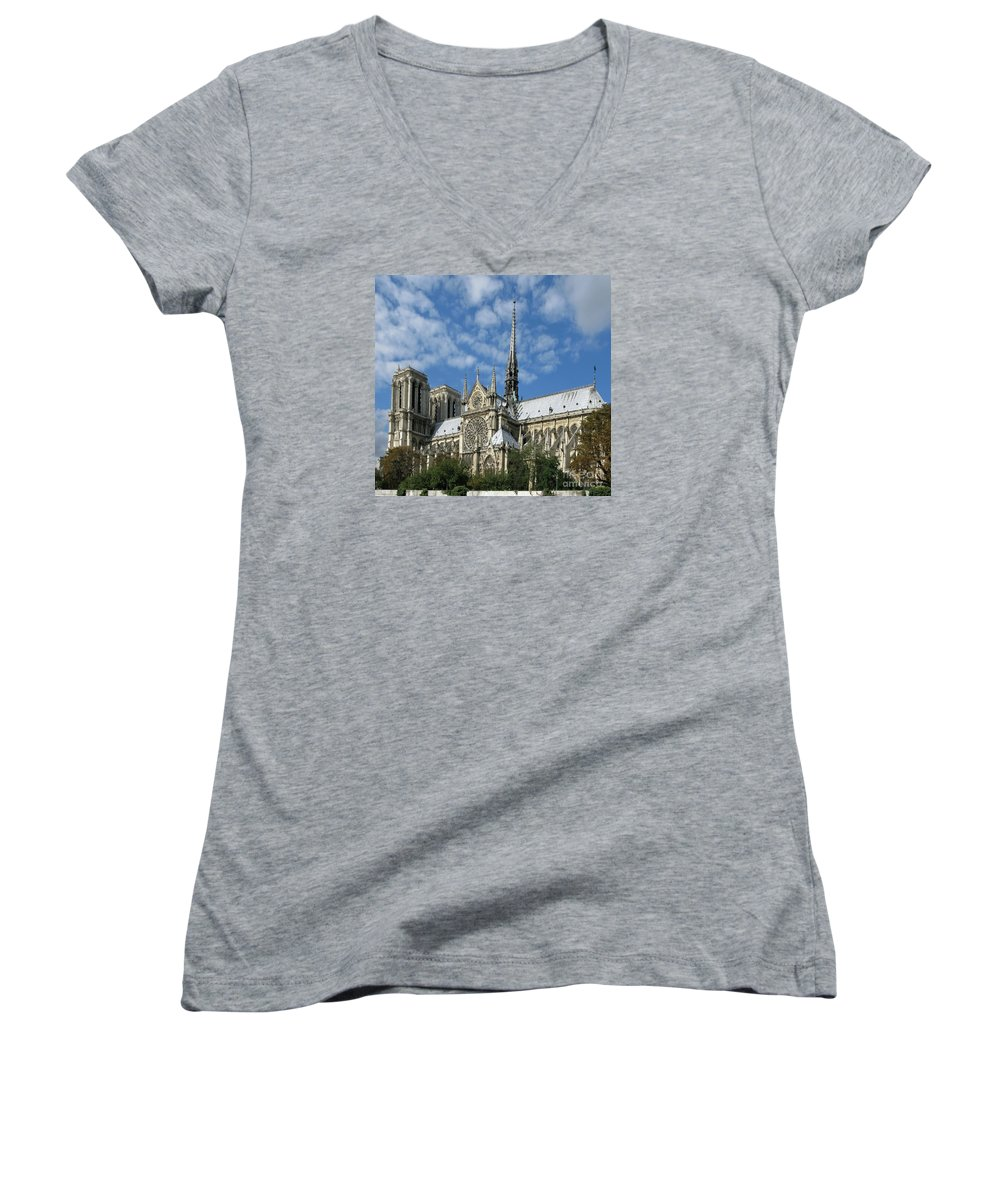 Notre Dame Women's V-Neck T-Shirt featuring the photograph Notre Dame Cathedral by Ann Horn