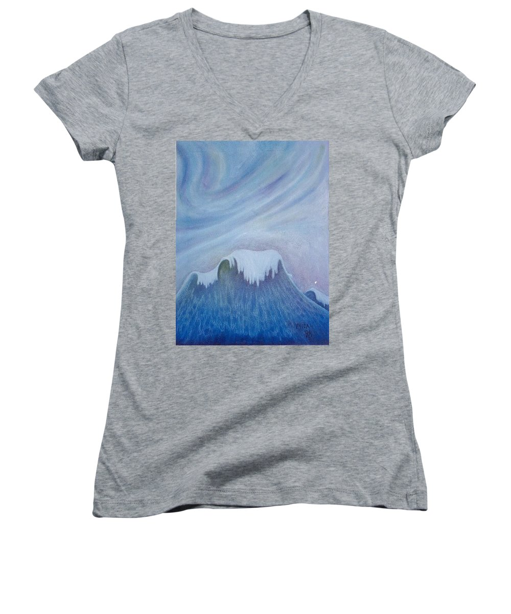 Ocean Women's V-Neck (Athletic Fit) featuring the painting Ocean Wave by Micah Guenther
