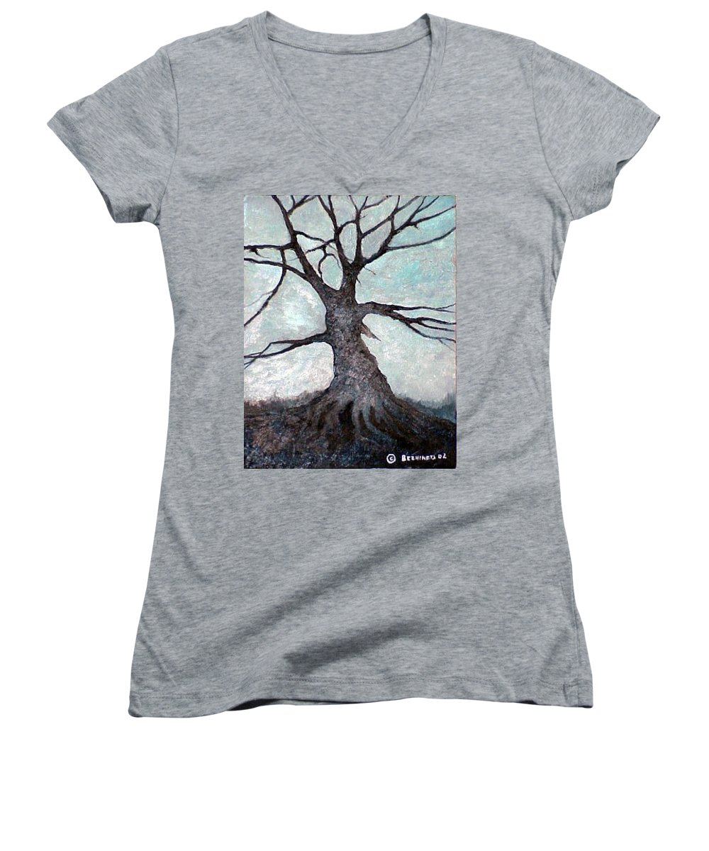 Landscape Women's V-Neck (Athletic Fit) featuring the painting Old Tree by Sergey Bezhinets