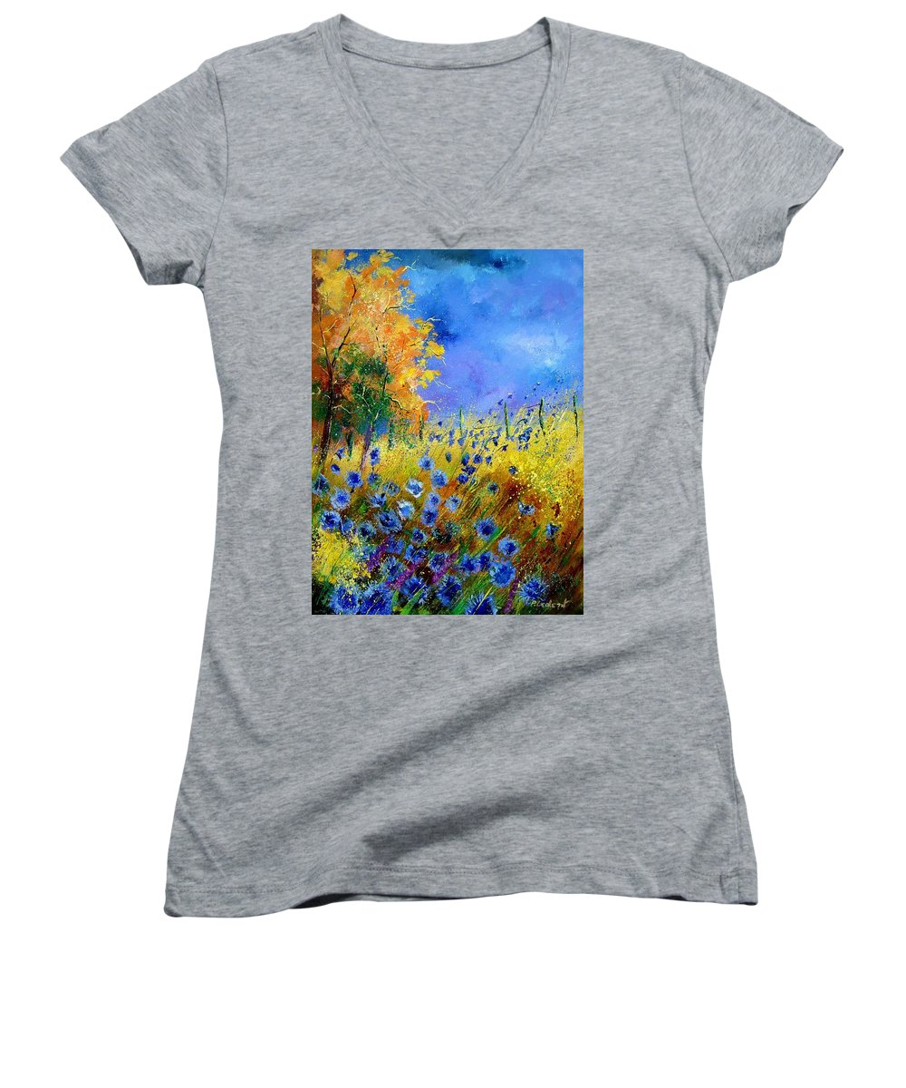 Poppies Women's V-Neck T-Shirt featuring the painting Orange Tree And Blue Cornflowers by Pol Ledent