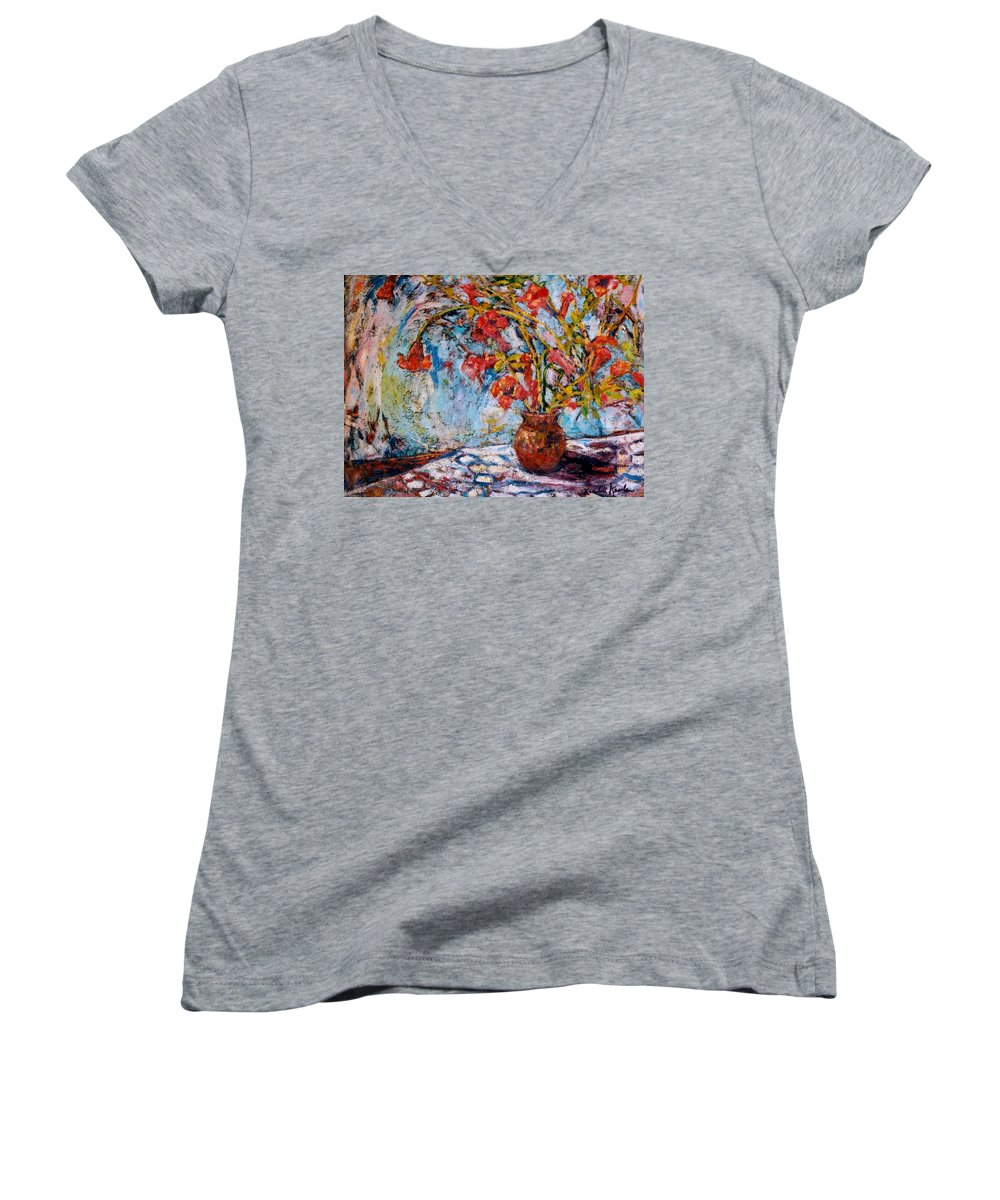 Trumpet Flowers Women's V-Neck T-Shirt featuring the painting Orange Trumpet Flowers by Kendall Kessler