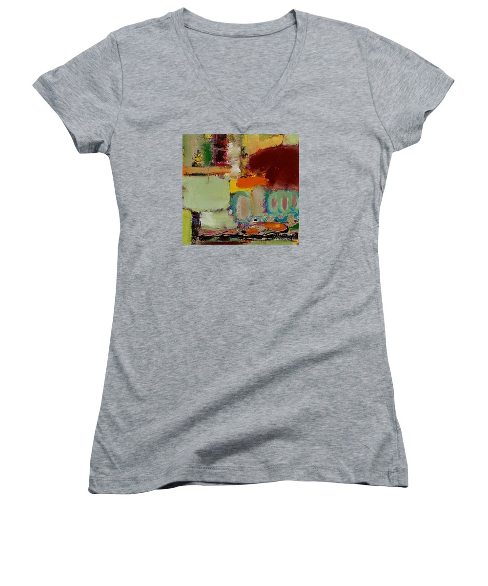 Landscape Women's V-Neck T-Shirt featuring the painting Over There by Allan P Friedlander