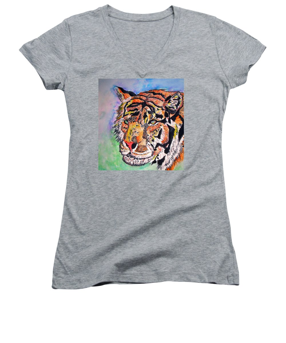Abstract Women's V-Neck T-Shirt featuring the painting Paradise Dream by Crystal Hubbard