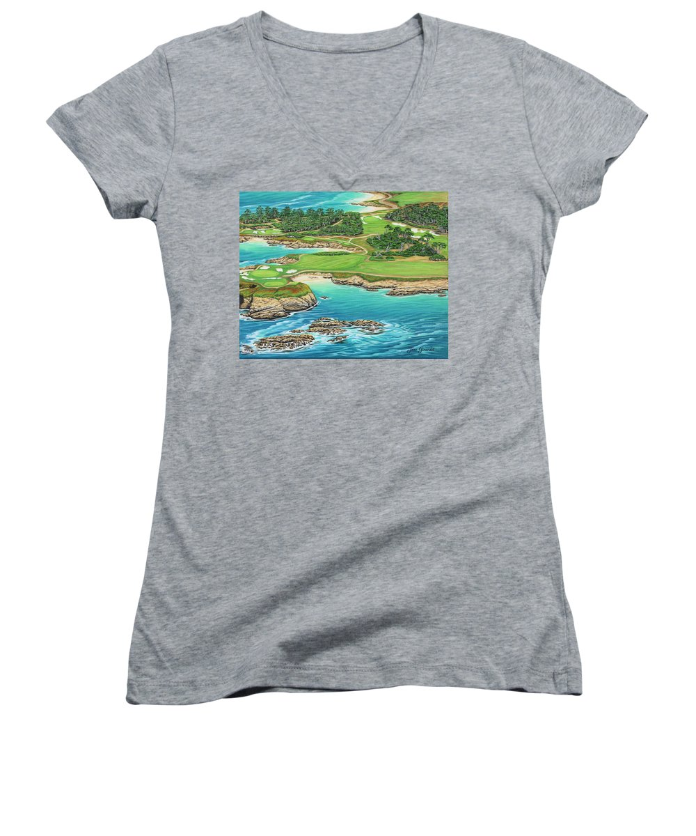 Ocean Women's V-Neck T-Shirt featuring the painting Pebble Beach 15th Hole-south by Jane Girardot