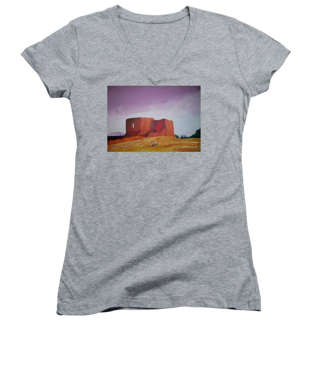 Western Women's V-Neck (Athletic Fit) featuring the painting Pecos Mission Landscape by Eric Schiabor