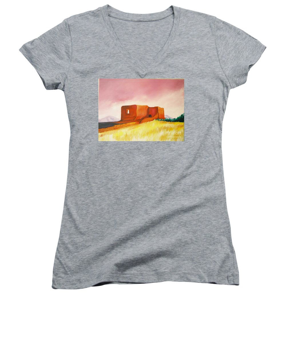 Western Landscapes Women's V-Neck T-Shirt featuring the painting Pecos Mission Nm by Eric Schiabor