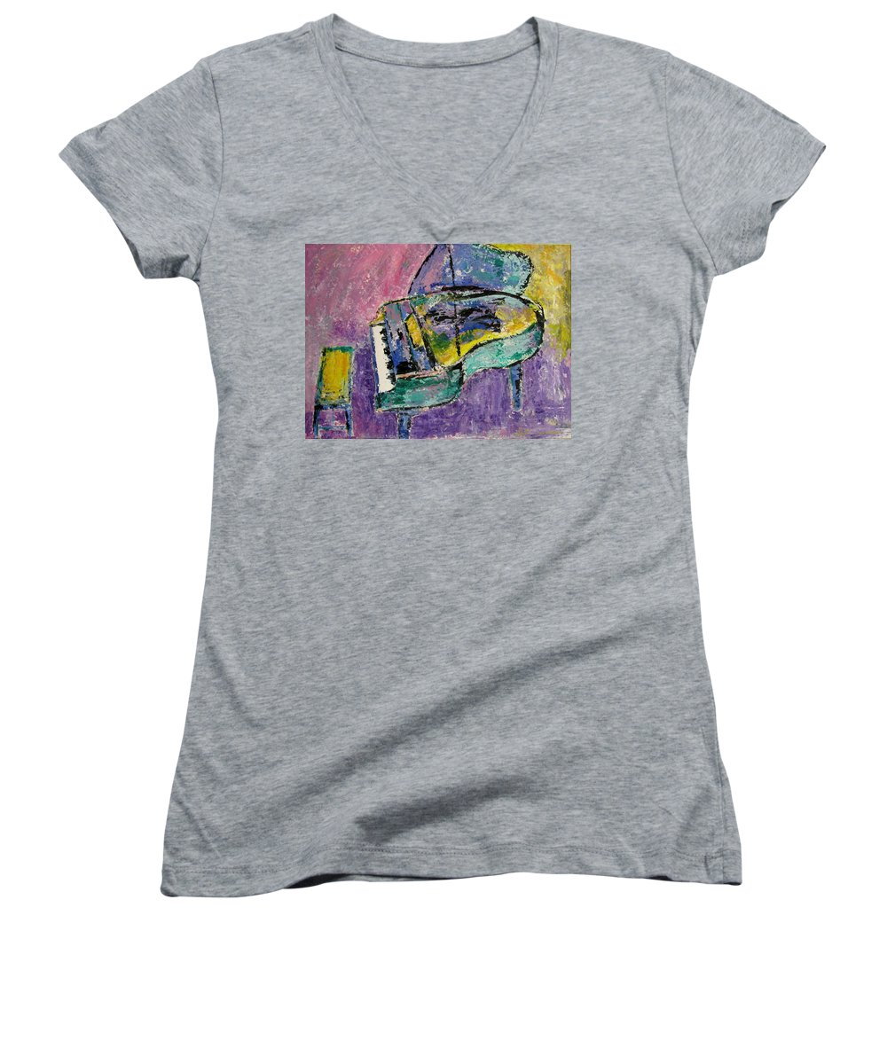 Impressionist Women's V-Neck T-Shirt featuring the painting Piano Green by Anita Burgermeister