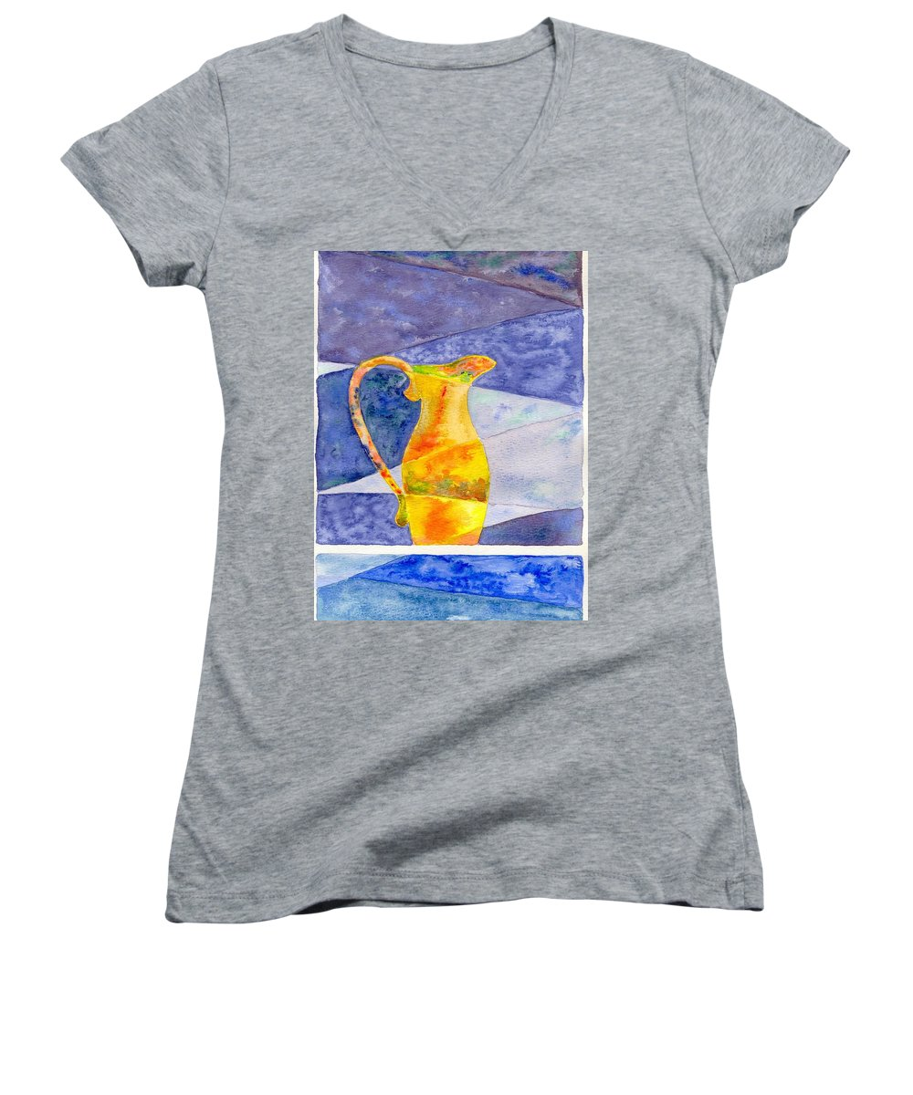 Still Life Women's V-Neck T-Shirt featuring the painting Pitcher 1 by Micah Guenther