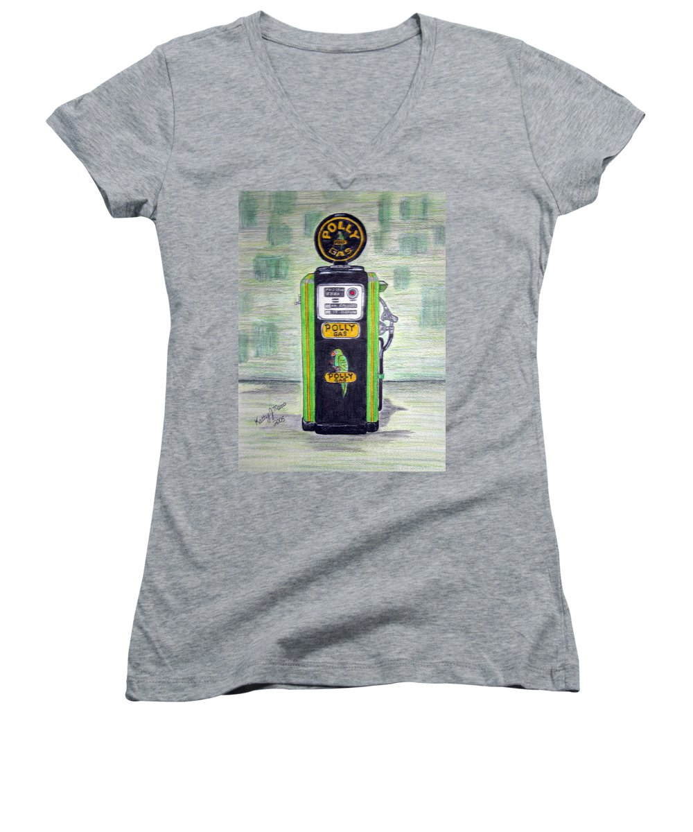Parrot Women's V-Neck T-Shirt featuring the painting Polly Gas Pump by Kathy Marrs Chandler