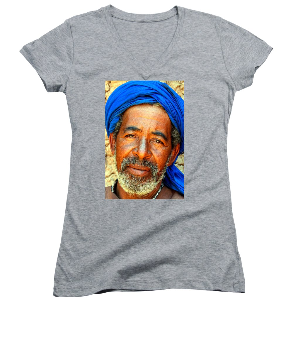 Berber Man Women's V-Neck (Athletic Fit) featuring the photograph Portrait Of A Berber Man by Ralph A Ledergerber-Photography