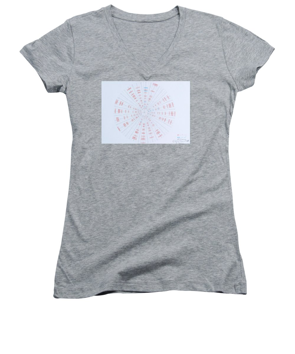 Prime Number Women's V-Neck (Athletic Fit) featuring the drawing Prime Number Pattern P Mod 40 by Jason Padgett