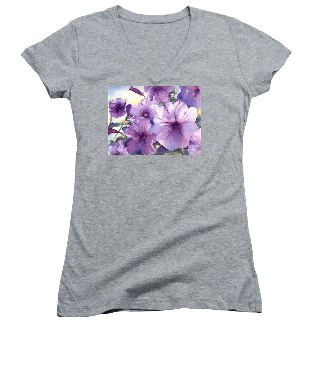 Purple Women's V-Neck (Athletic Fit) featuring the painting Purple Profusion by Patricia Henderson