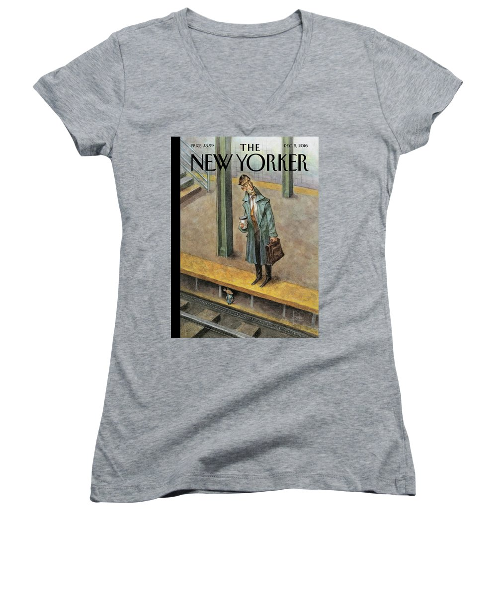 Mice Women's V-Neck featuring the painting Rat Race by Peter de Seve