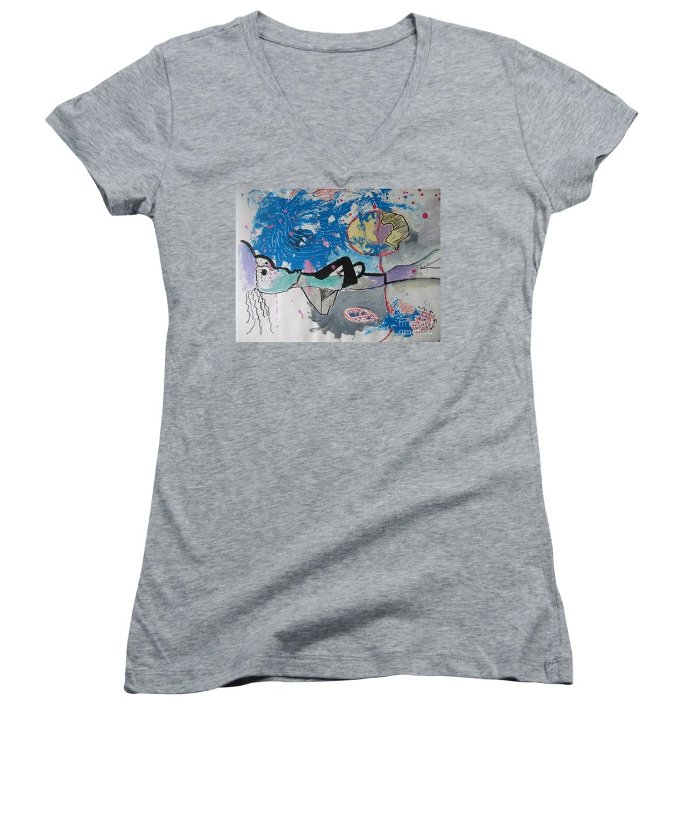 Abstract Paintings Women's V-Neck (Athletic Fit) featuring the painting Read My Mind2 by Seon-Jeong Kim