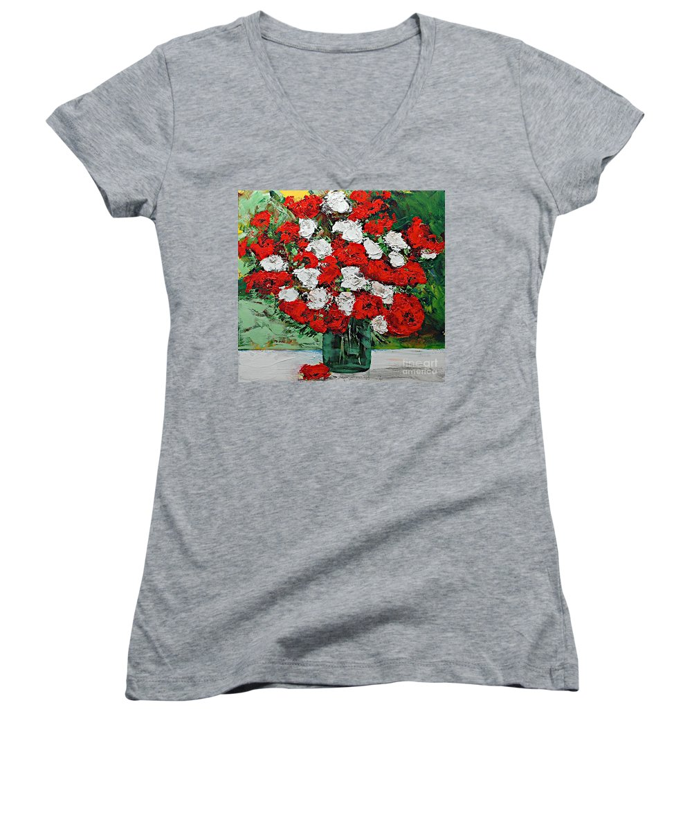 Landscape Women's V-Neck T-Shirt featuring the painting Red Explosion by Allan P Friedlander