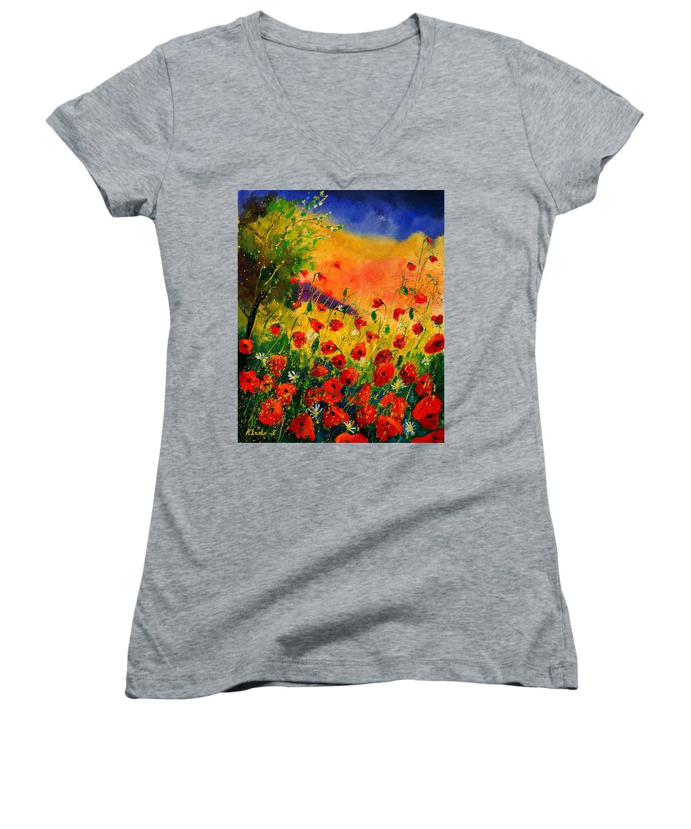 Poppies Women's V-Neck (Athletic Fit) featuring the painting Red Poppies 45 by Pol Ledent