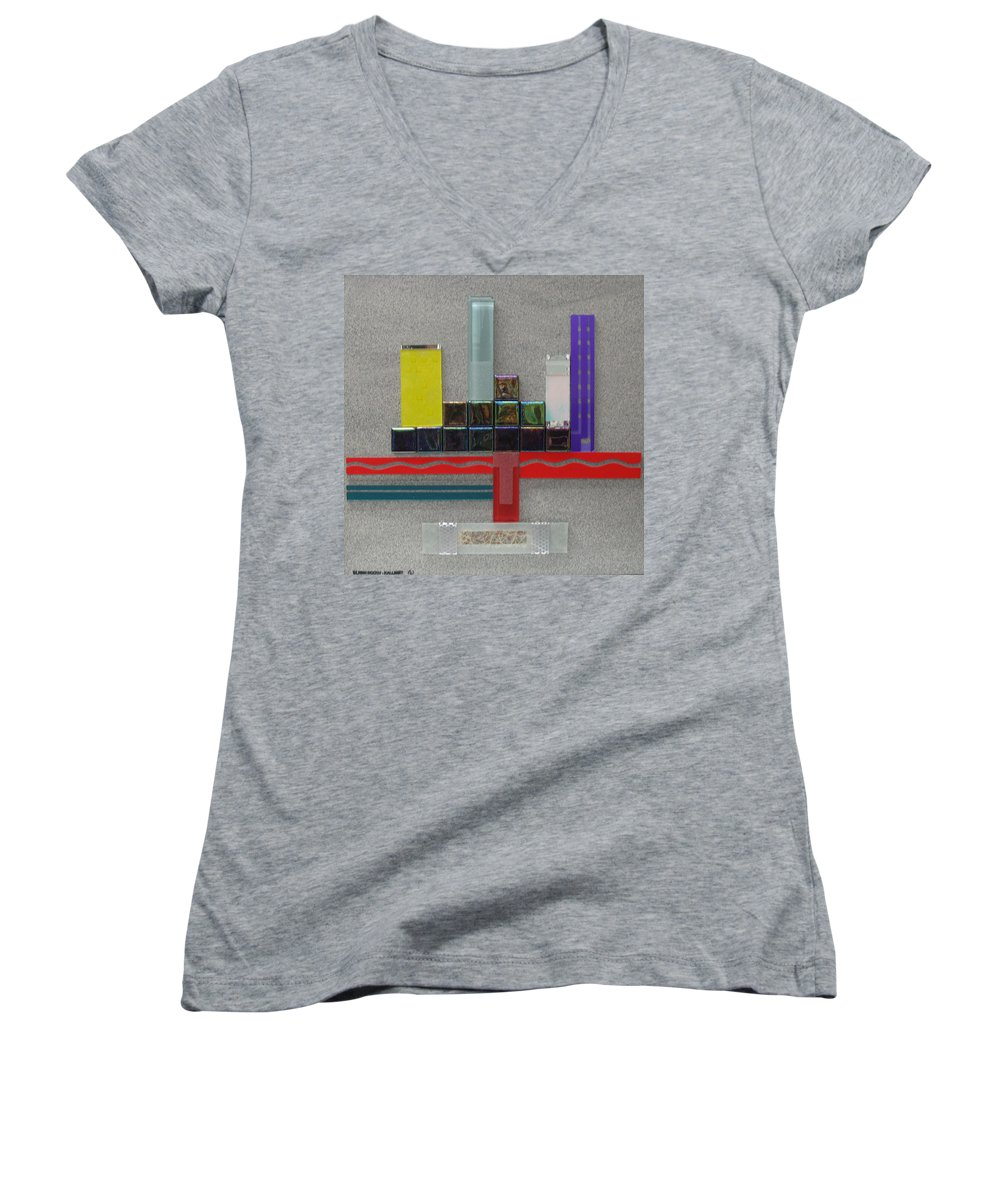 Assemblage Women's V-Neck T-Shirt featuring the relief Red River City by Elaine Booth-Kallweit